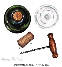 Watercolor Kitchenware Clipart - Cork screw, empty glass and bottle of wine - top view