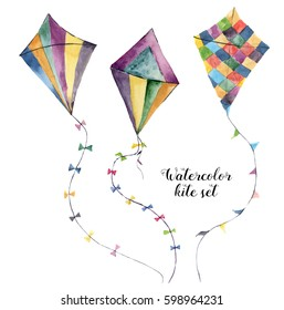 Watercolor kite set with vintage design. Hand painted illustrations isolated on white background. For design or print.