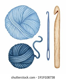 Watercolor Knitting, Crocheting Tool set. Hand drawn wooden Crochet Hook, Needle, Yarn Wool Skeins. Ball of blue Threads. Hand drawn clipart, elements isolated for Knitters blog design, logo, pattern