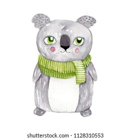 Watercolor koala with green scarf. Hand drawn illustration