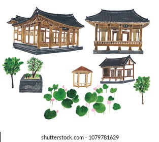 watercolor korean-style house isolated on white background.