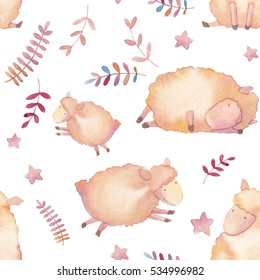 Watercolor lambs seamless pattern. Hand drawn cartoon wallpaper design with young sheep, stars and decorative plants on white background. Cute repeating texture in baby style