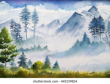 Watercolor landscape.