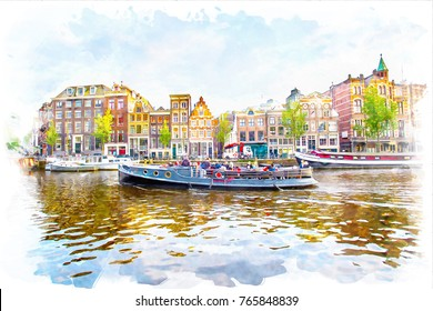 watercolor landscape of Amsterdam,Nederland, scenery town on watercolor paper texture background.