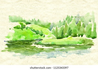 Watercolor landscape artwork with Green trees forest, grass and river textured cardstock