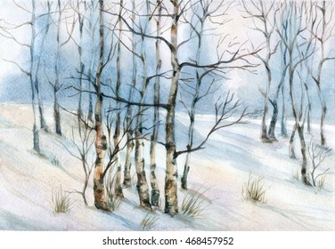 Watercolor landscape with birch trees in the snow