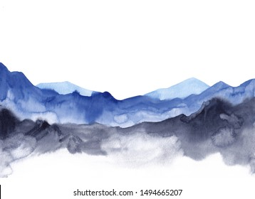 Watercolor landscape with blue & grey vibrant mountain peaks. Abstract peaceful tranquil hand drawing mountains nature background for relaxation, meditation and restoration. Hand sketch illustration.