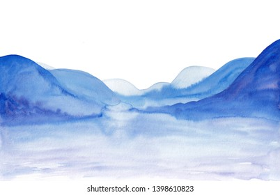 Watercolor landscape of blue and light purple vibrant mountains peaks. Paper arts peaceful tranquil hand drawn nature background for relaxation, meditation & restoration isolated on white background.