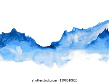 Watercolor landscape of blue vibrant mountain peaks. Peaceful tranquil hand drawn nature background for relaxation , meditation and restoration. Can be used as design element.