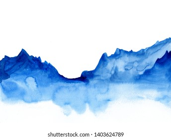 Watercolor landscape of blue vibrant mountain peaks. Peaceful tranquil hand drawn nature background for relaxation , meditation and restoration. Paper arts hand sketch.