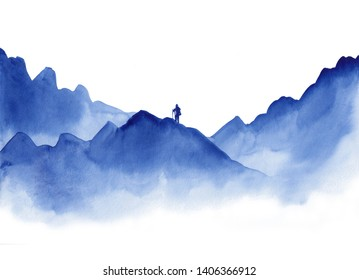 Watercolor landscape of blue vibrant mountain peaks with hiking man silhouette on white. Peaceful tranquil hand drawn nature background for tourism, relaxation, meditation and restoration.