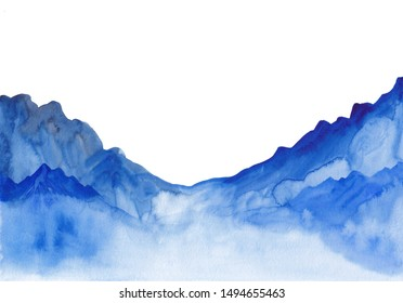 Watercolor landscape of blue vibrant mountain peaks. Abstract peaceful tranquil hand drawing nature background for relaxation, meditation and restoration. Paper arts hand sketch illustration.