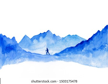 Watercolor landscape of blue vibrant mountain peaks. Peaceful tranquil hand drawn nature background for relaxation, meditation & restoration. Man hiking mountains. Success, motivation concept.