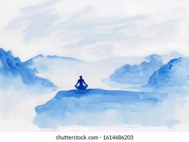Watercolor landscape of blue vibrant mountain peaks with sitting meditating person. Peaceful tranquil hand drawn nature background for relaxation , meditation and restoration. Paper arts hand sketch.