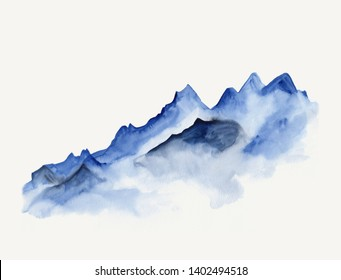 Watercolor landscape of blue vibrant mountains in fog drawn in minimalist style. Peaceful tranquil hand drawn nature background for relaxation, meditation, restoration. Can be used as design element.