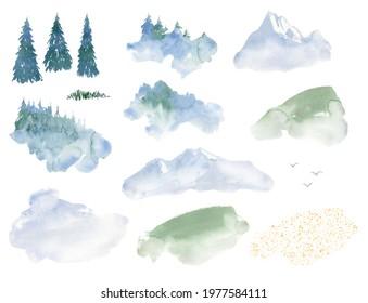 watercolor landscape camping clipart, travel theme clip art. foggy forest, blue mountain, scene creator, landscape elements