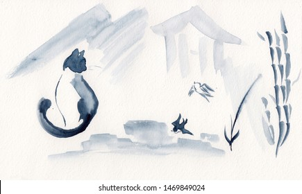 Watercolor landscape of cat and birds with bamboo tree & decorative elements in Chinese Ink technique. Hand drawn calm mountains background - relax, restore meditation. Asian style sumi-e painting.