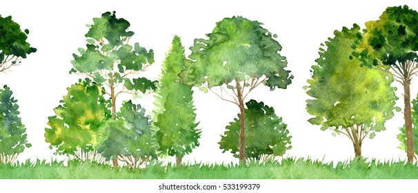 watercolor landscape with deciduous trees,pine, bushes and grass, seamless pattern, abstract nature background, forest border, hand drawn illustration