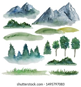 Watercolor landscape elements for creating customizing design. Mountains, fields, trees and grass paintings isolated on the white background.