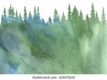 watercolor landscape with fir trees, abstract nature background, vintage forest design template, hand drawn illustration