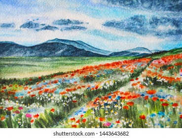 Watercolor landscape flower field in the mountains. The illustration is made by hand.