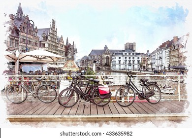 watercolor landscape of  Gent or Ghent, Belgium, with a traditionally decorated bicycle in the foreground over scenery town on watercolor paper texture background.