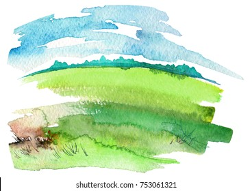 Watercolor landscape. green field, wild grass, wheat, cereals. The blue sky, the silhouette of the forest. Art painting, painting, logo.