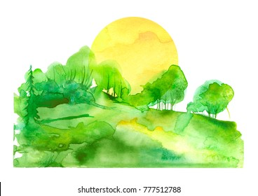 Watercolor landscape. green trees, bushes, field, wild grass. the silhouette of the forest, yellow sun. Art painting, painting, logo.