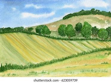 Aquarelllandschaft mit Hügeln, Wäldern und Feldern in grünen Tönen. Kleiner sonniger Tag.