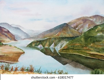 Watercolor landscape of himalayan mountains and river in India, Uttarakhand
