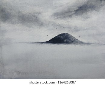 watercolor landscape ink sea island with mountains fog birds flying in the sky. traditional oriental. asia art style.