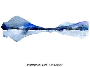 Watercolor Landscape with Islands in the water. Silhouette of the mountains of lake. Illustration is drawn by hand in watercolor and ink. Aquamarine, ultramarine, Indigo.  Nature background