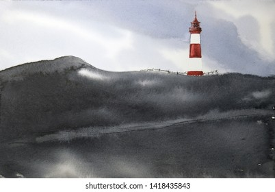 Watercolor landscape with a lighthouse on a black hill