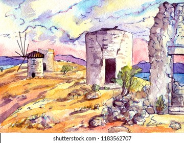 watercolor landscape with mills painting