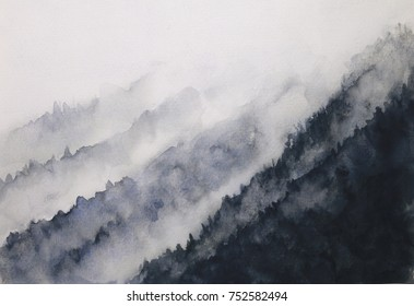 watercolor landscape mountain fog