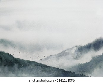 watercolor landscape mountain fog and birds. traditional oriental ink asia art style