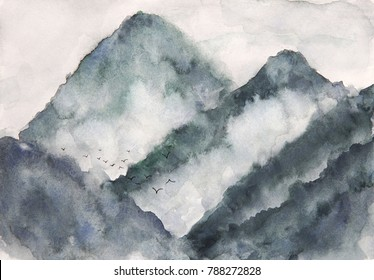 watercolor landscape mountain fog and birds. asia art style