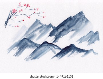 Watercolor landscape of mountain peaks with tree branch in bloom in Chinese Ink technique. Hand drawn calm mountains background - relax, restore & do meditation. Asian style sumi-e grisaille painting.