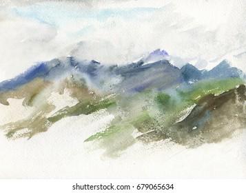 watercolor landscape mountains