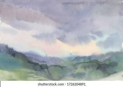 Watercolor landscape with mountains and clouds
