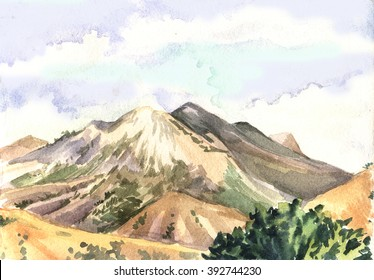 Watercolor landscape with mountains. Watercolor painting.