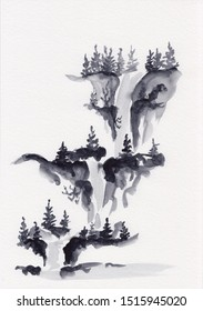 Watercolor landscape of North America waterfall and pine trees in Chinese Ink technique. Hand drawn calm mountains background for relaxation, meditation & restoration.  Asian style sumie painting.
