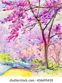 Watercolor landscape original painting colorful of  Wild himalayan cherry on  mountain and emotion in cloud background