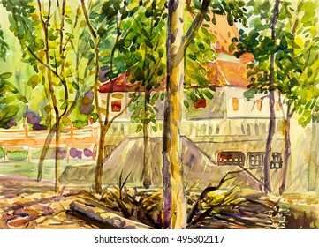 Watercolor landscape original painting colorful of green tree and Hall made a ritual with introspection in forest background