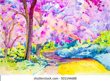 Watercolor landscape original painting colorful of wild himalayan cherry on the mountain and emotion in mountain background