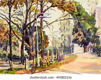 Watercolor landscape original painting on paper colorful of road to nature and emotion in sky  background