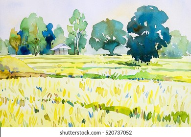 Watercolor landscape original painting on paper colorful of cottage and rice field , with sky view background. Painted beauty nature season