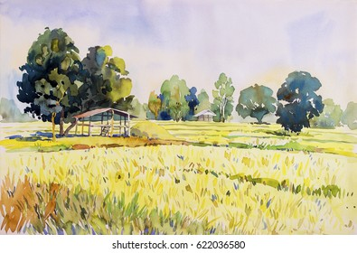 Watercolor landscape original painting on paper colorful of cottage and rice field in the morning, with sky view background, Hand painted beauty nature winter season in Thailand.