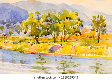 Watercolor landscape painting colorful of natural beauty flowers tree and mountain forest with in nature autumn season, sky background. Painted impressionist, illustration image