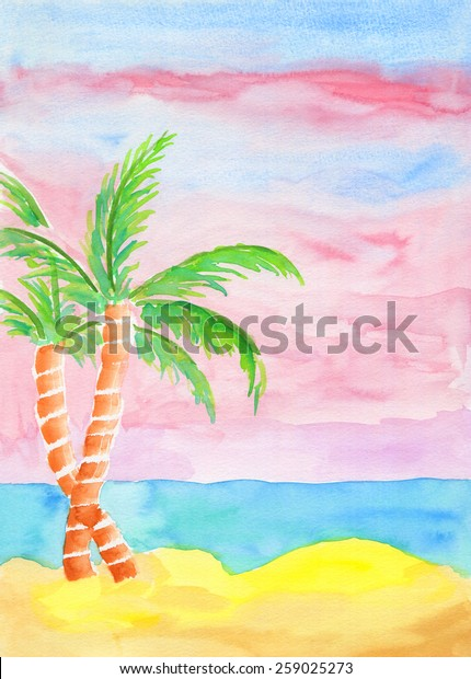 Watercolor landscape painting of golden sand beach, turquoise sea water and coconut trees with pink sky at sunrise. Summer resort feel. Hand drawn using transparent watercolor paint on paper.